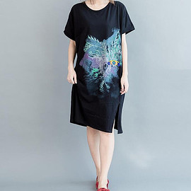 dress - summer Cotton large size round collar dress short sleeved long T-shirt in black/ Grey