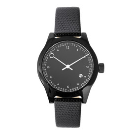 squarestreet - Minuteman Watch, Two Hand, Black with Black Lizard Leather Strap