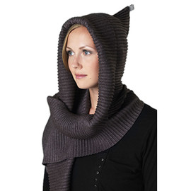 Fleece Hood Scarf Black