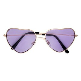 H&M - Heart-shaped sunglasses - Gold-coloured/Purple - Ladies | H&M GB 1