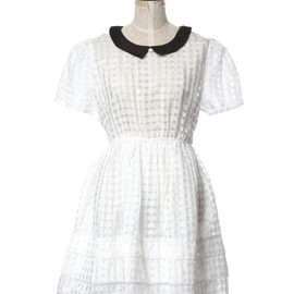 Honey mi Honey - Gingham check see through onepiece white