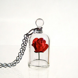 kivaford - Red Rose in a Bell Jar Terrarium Necklace / Pendant