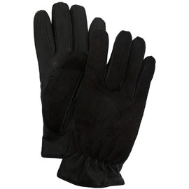 OVADIA & SONS - BLACK LEATHER AND PONYHAIR CASHMERE-LINED GLOVES