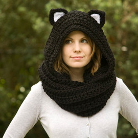 WellRavelled - Cat Ear Scoodie, Black Cat Scarf with Hood, Crochet Black and White Animal Halloween Costume