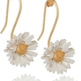 Alex Monroe  - 22-karat gold-plated sterling silver daisy earrings