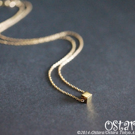 Ostara - 【14KGF】Necklace, Tiny Gemstone Gold Hematite dice