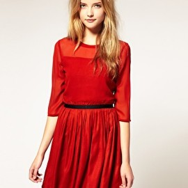ASOS -  Chiffon Dress with Ribbon Waist Band