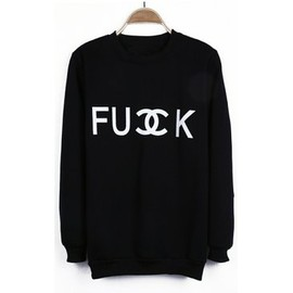 Black FU DOUBLE CK Print Boyfrined Pullover Sweatshirt