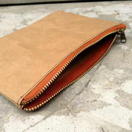Belltastudio - Kraft fabric paper clutch zipper bag