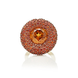 VRAM - One-Of-A-Kind Natural Orange Zircon And Sapphire Ring