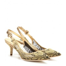 DOLCE&GABBANA - BELLUCCI MESH AND LACE SLING-BACK PUMPS