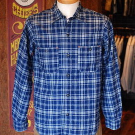FREEWHEELERS - BAKEHEAD SHIRT COTTON/LINEN INDIGO CHECK
