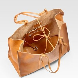 Maison Martin Margiela - Washed Leather East-To-West Tote Bag - Camel