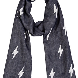 Neil Barrett - Navy & White Jacquard Lightning Scarf