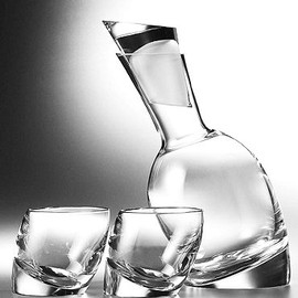 "Nambe - ""Tilt"" Decanter and Old Fashioned"