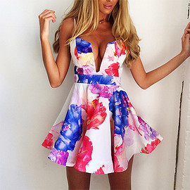 Sexy Low-cut V-neck Floral Print Sling Dress
