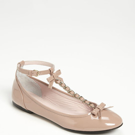 RED VALENTINO - Patent Leather Bow T-Strap Ballet Flats