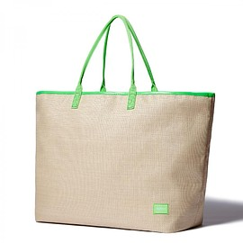 "HEAD PORTER - ""GRANADA"" TOTE BAG (L) BEIGE/GREEN"