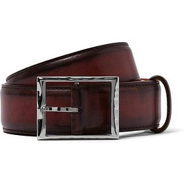 Berluti - 3.5cm Burgundy Classic Polished-Leather Belt