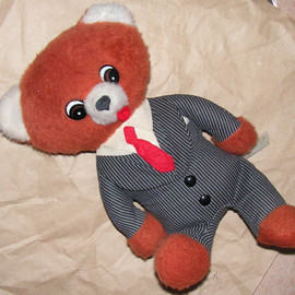 Vintage Executive Talking Teddy Bear in Business Suit Commonwealth Toy Company