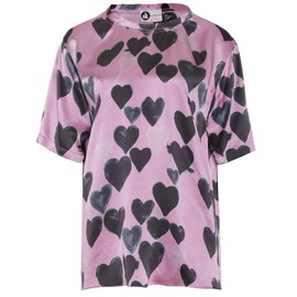 LANVIN - SILK PRINTED TOP WITH HEARTS