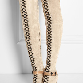 EMILIO PUCCI - Suede and ostrich thigh boots