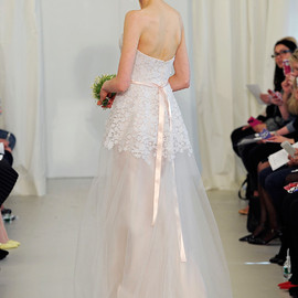 angel sanchez 2014 bridal strapless wedding dress tulle overlay petal bodice blush pink