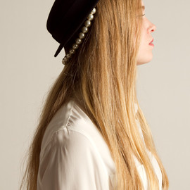 Maison Michel for Opening Ceremony  - black hat w/pearl strand