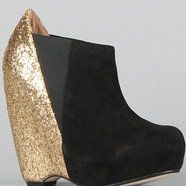 The Narcisco Shoe in Black Suede and Gold Glitter (Exclusive/Limited Edition) - Senso Diffusion