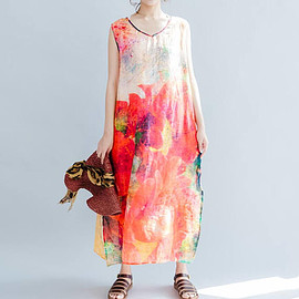 sleeveless dress - Romantic sleeveless Long dress Summer hem open dress