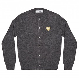 COMME des GARCONS - Play Gold Heart Ladies' Cardigan (Mid Grey)