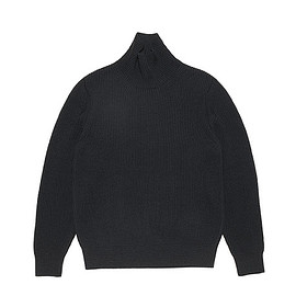 AURALEE - Super Fine Wool Rib Knit Turtle Neck P/O-Black
