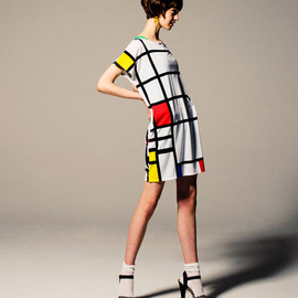 graniph - Piet Mondrian Boat Neck Short Sleeve One-Piece(Piet Mondrian vol.003)