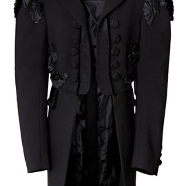 MARC JACOBS - SS2014 Black Lightweight Wool Coat With Tails And Passementerie Trim