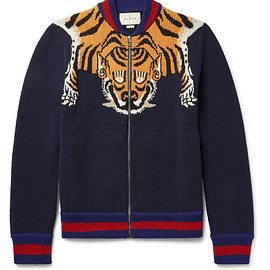GUCCI - FW2016 Tiger-Intarsia Wool Zip-Up Cardigan