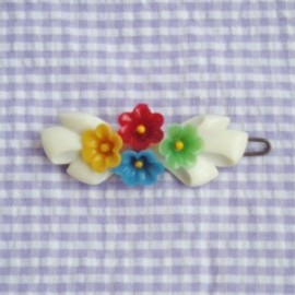 "1950's ""PETIT FLOWER with RIBBON"" Vintage Barrette (vivid)"