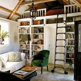 great space, lots of books, tiny house.