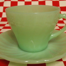 Jadeite Magic Gallery - Fire King Jadeie Shell Cup & Saucer (8)