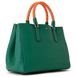 ANYA HINDMARCH - Ebury Small Featherweight Side Wink - Emerald / Light Grey