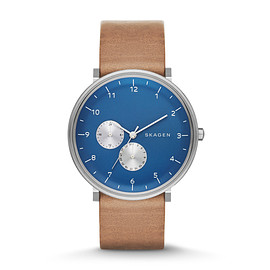 Skagen - Ancher Leather Watch (BROWN/BLUE)