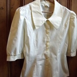 womens teen vintage white blouse small blue frill neck geek nerdy 80s clothing long sleeves xs