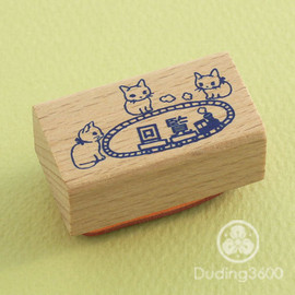 "ポタリングキャット - Japanese Cat Wooden Rubber Stamp - Cat Playing Train ""Circulation"" - Pottering Cat"
