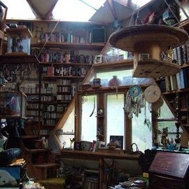 Hanging Shelf, Many Books, and Lots of Light