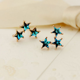 Crystals Blue Stars Stud Earring Cute Ear Accesories