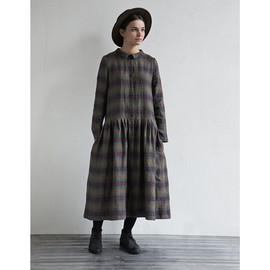 muku - Check Dress with Collar and Buttons in Front