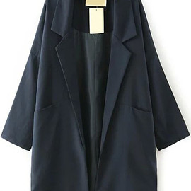 Romwe - Navy Lapel Pockets Loose Trench Coat