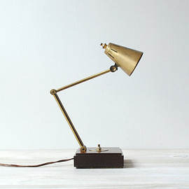 Vintage Desk Lamp / Brass and Wood Lamp
