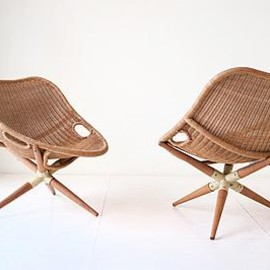 Joseph-Andre Motte - Pair of Straw Chairs, ca 1949