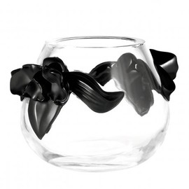 René Lalique - orchid vase, clear and black crystal