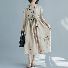Casual dress - Women Dress Loose Dress  maternity dress Cotton Dress linen Dress long large size Casual dress